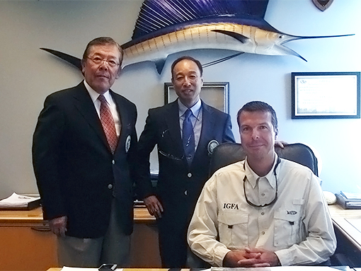Rob Kramer, the former IGFA President smiles with Mr. Innami and Mr. Wakabayashi, JGFA officers