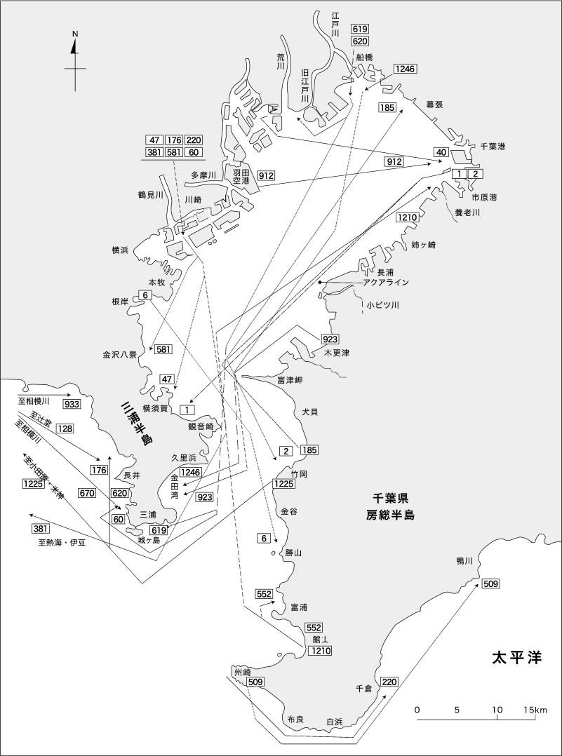 東京湾におけるスズキ標識魚の移動経路1985年-2015年(抜粋)