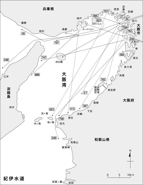 大阪湾におけるスズキ標識魚の移動経路 1989~2015年(抜粋)