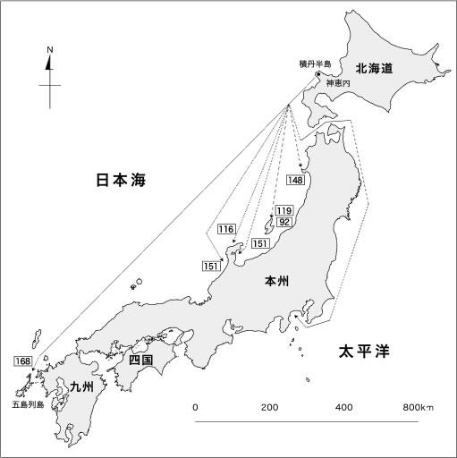 北海道積丹半島沖で標識放流されたブリの移動経路 (2001-2015年)