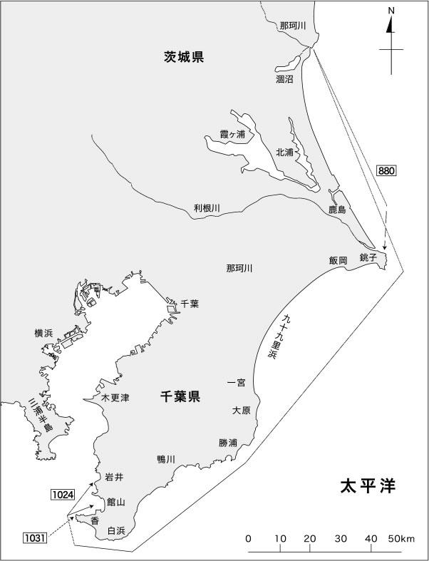 茨城涸沼にて標識を装着したスズキの移動経路 2004年-2009年